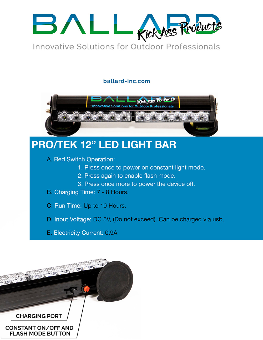 Magnetic LED Light Bar 12 inch (USB RECHARGEABLE)