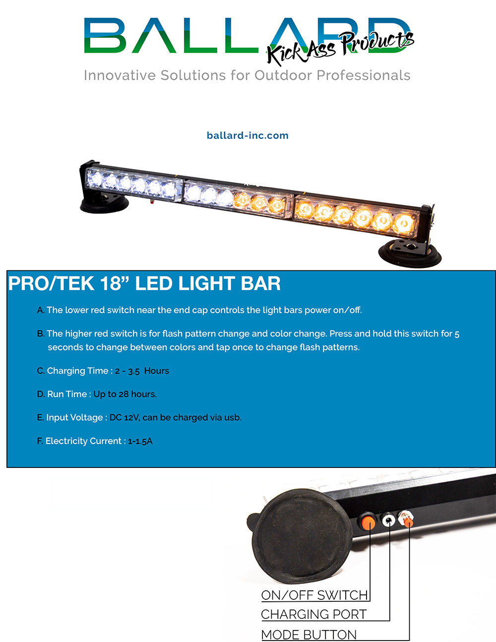Magnetic LED Light Bar MAX 18 inch (USB RECHARGEABLE)